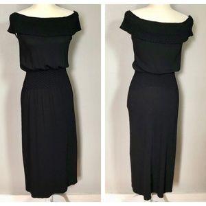 Max Studio Black Stretch Off Shoulder Maxi Dress